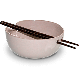 Large noodle bowl with palm wood chopsticks (white)